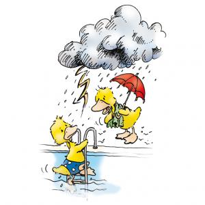 7. Bei Gewitter ist Baden lebensgefährlich. Verlasse das Wasser sofort und suche ein festes Gebäude auf.