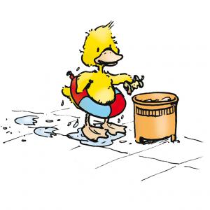 8. Halte das Wasser und seine Umgebung sauber, wirf Abfälle in den Mülleimer.
